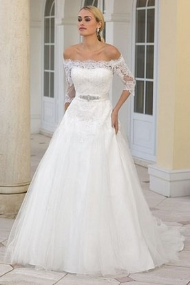 A-Line Jeweled Off-The-Shoulder Half-Sleeve Tulle Wedding Dress With Lace And Court Train