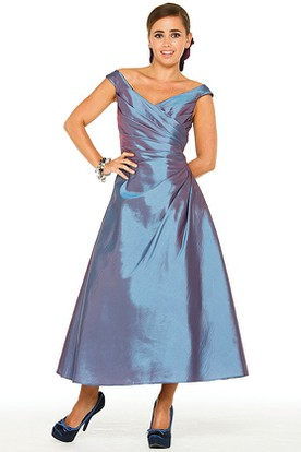 Tea-Length Cap Sleeve Side-Draped V-Neck Satin Bridesmaid Dress
