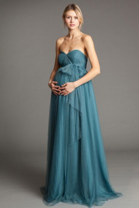 Sweetheart Empire Bowed Sleeveless Tulle Bridesmaid Dress
