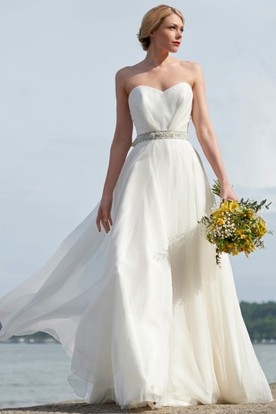 Floor-Length Sweetheart Jeweled Bowed Chiffon Wedding Dress With Ruching And V Back