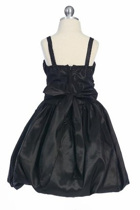 Tea-Length Straps Bowed Split-Front Taffeta Flower Girl Dress