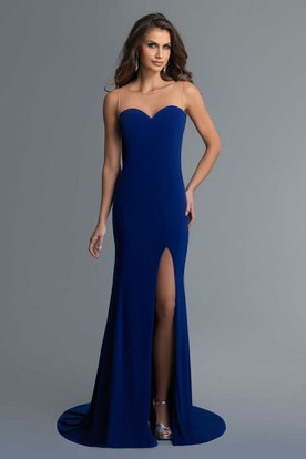 Sheath Long Sweetheart Sleeveless Jersey Illusion Dress With Split Front