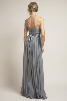Strapless Ribboned Chiffon Bridesmaid Dress With Pleats