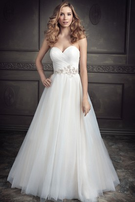 A-Line Floor-Length Sweetheart Jeweled Tulle Wedding Dress With Criss Cross And Deep-V Back