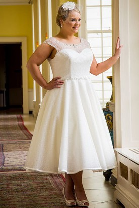 Plus Size Tea Length Wedding Dresses - Short Wedding Dresses ...
