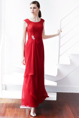 Ankle-Length Scoop Neck Sleeveless Lace Chiffon Bridesmaid Dress