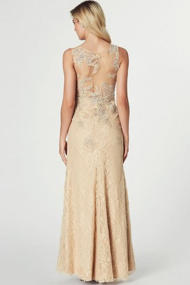 Beaded Sleeveless Scoop Neck Lace Prom Dress