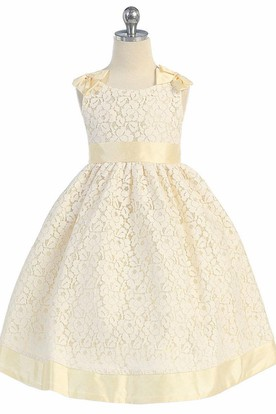 Tea-Length Bowed Floral Lace Flower Girl Dress With Ribbon