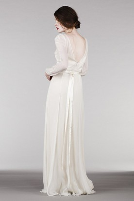 Sheath Long-Sleeve Scoop-Neck Chiffon Wedding Dress With Embroidery And Deep-V Back