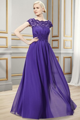 Sheath Bateau-Neck Appliqued Long Cap-Sleeve Chiffon Formal Dress With Ruching