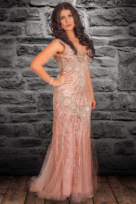 Sheath V-Neck Beaded Sleeveless Floor-Length Tulle&Sequins Prom Dress