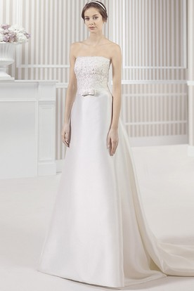 Strapless Floor-Length Floral Satin Wedding Dress With Brush Train And V Back