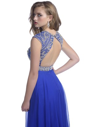 A-Line Cap Sleeve Chiffon Keyhole Back Prom Dress With Crystal Bodice And Belt