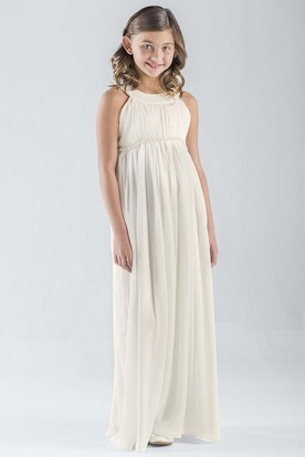 Maxi Pleated Empire Sleeveless Chiffon Flower Girl Dress