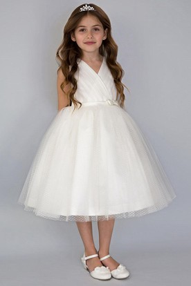 V-Neck Tea-Length Pleated Tiered Tulle&Satin Flower Girl Dress