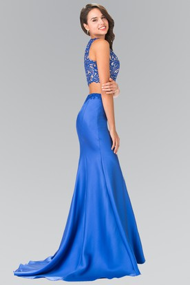 Mermaid Jewel-Neck Sleeveless Satin Zipper Dress With Beading And Embroidery