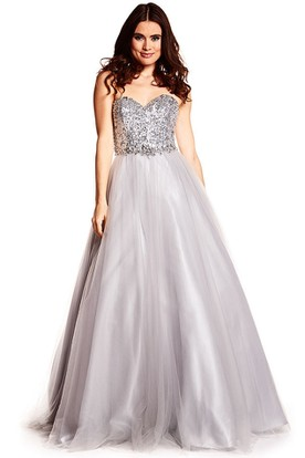 A-Line Floor-Length Sweetheart Sleeveless Sequins&Tulle Prom Dress