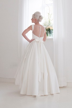 A-Line High-Low Sleeveless High Neck Satin Wedding Dress With Bow And Illusion