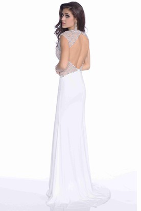 A-Line Jersey V-Neck Prom Dress With Bling Sequins And Keyhole Back