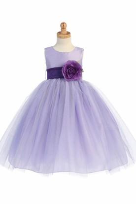 Tea-Length Tiered Tulle Flower Girl Dress