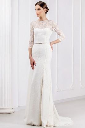 Sheath Ribboned Jewel Neck 3-4 Sleeve Lace Wedding Dress With Brush Train