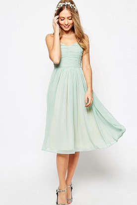Tea-Length A-Line Ruched Sleeveless Spaghetti Chiffon Bridesmaid Dress