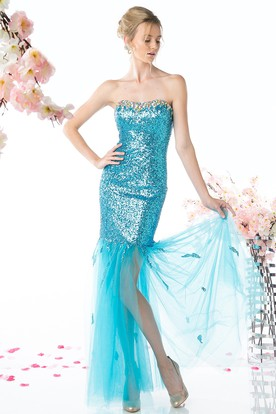 Sheath Strapless Sleeveless Sequins Tulle Backless Dress With Beading