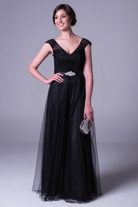 Sheath V-Neck Cap-Sleeve Maxi Lace Tulle Bridesmaid Dress With Waist Jewellery