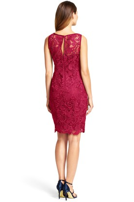 Short Sheath Appliqued Bateau Neck Sleeveless Lace Bridesmaid Dress
