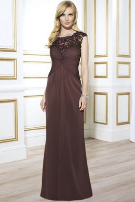 Sheath Cap-Sleeve Appliqued Floor-Length Scoop Chiffon Formal Dress With Illusion Back And Draping