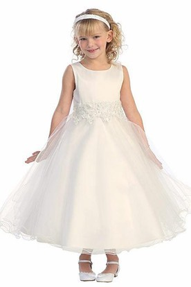 Floral Tea-Length Tiered Bell-Sleeve Tulle&Lace Flower Girl Dress