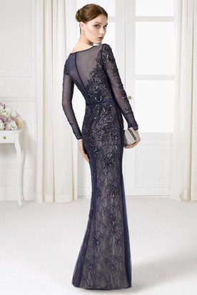 Sheath Floor-Length Beaded Illusion Sleeve Bateau Neck Lace Prom Dress