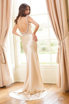Sheath Maxi V-Neck Sleeveless Jeweled Satin Wedding Dress With Beading And Deep-V Back
