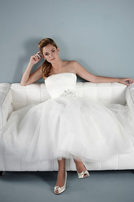 Tea-Length A-Line Strapless Jeweled Tulle Wedding Dress