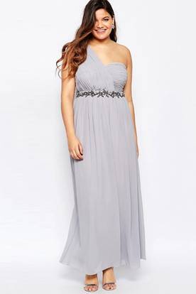 Ruched Ankle-Length One-Shoulder Sleeveless Chiffon Bridesmaid Dress With Waist Jewellery