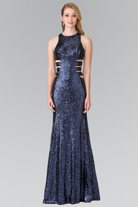 Sheath Floor-Length Jewel-Neck Sleeveless Sequins Dress With Pleats