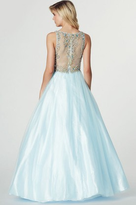 A-Line Sleeveless Ruched V-Neck Tulle Prom Dress