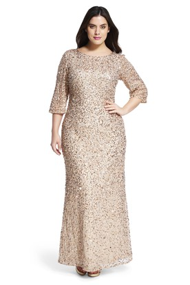 Ankle-Length Mermaid Bateau Neck 3-4 Sleeve Sequin Plus Size Bridesmaid Dress