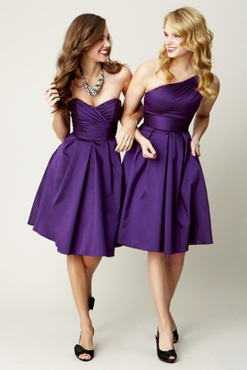 Knee-Length Sleeveless Ruched Sweetheart Satin Chiffon Bridesmaid Dress