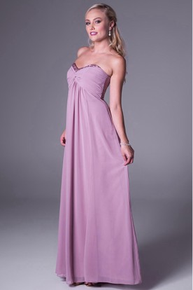 Maxi Beaded Sweetheart Empire Chiffon Bridesmaid Dress With Ruching And Zipper