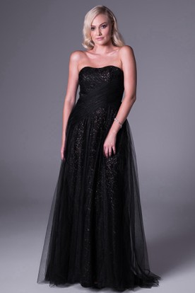 A-Line Ruched Sweetheart Sleeveless Floor-Length Tulle Bridesmaid Dress With Sequins