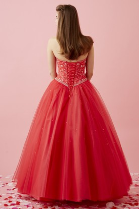 Ball Gown Sweetheart Sleeveless Tulle Lace-Up Dress With Beading