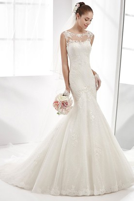 Jewel-Neck Mermaid Sheath Gown With Illusive Neckline And Back