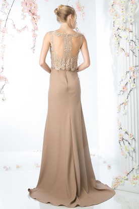 Sheath Long Scoop-Neck Sleeveless Jersey Illusion Dress With Beading And Lace