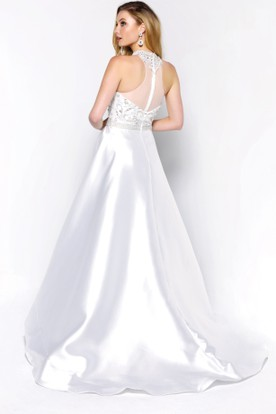 A-Line Jewel-Neck Sleeveless Satin Illusion Dress With Beading