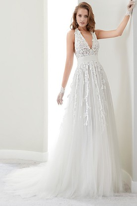 Deep-V Lace Draping Gown With Halter Strap And Illusive Lace Back