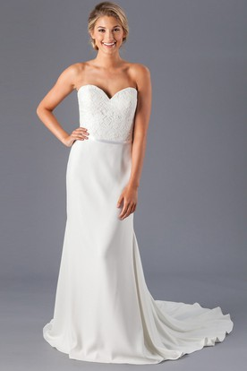 Sheath Long Sweetheart Chiffon Wedding Dress With Lace