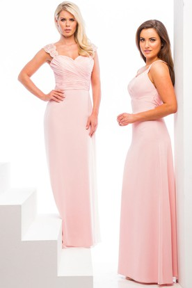 Floor-Length Sweetheart Criss-Cross Chiffon Bridesmaid Dress With Lace And V Back