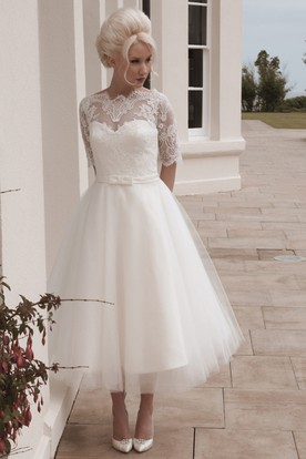 A-Line Tea-Length Appliqued Short Sleeve Jewel Neck Tulle Wedding Dress