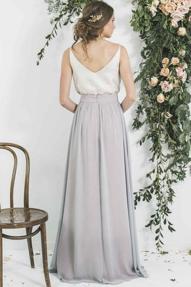 Spaghetti Sleeveless Pleated Chiffon Bridesmaid Dress With Low-V Back